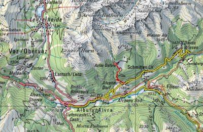 Ansicht der Karte mit Wanderweg