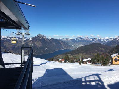Aussicht vom Schigebiet Klewenalp-Stockhütte auf den Vierwaldstätterse